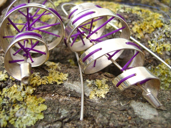 OOAK Silver twist earrings with purple silicone thread - ready to ship
