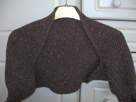Short Sleeved Shrug  in brown cotton mix