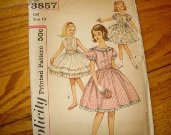 VINTAGE GIRLS DRESS PATTERN SIZE 10 SIMPLICITY 3857