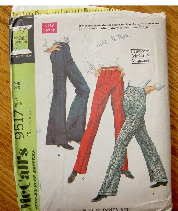 Vintage 1968 Three Style Pants Uncut Pattern