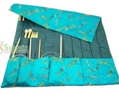 FREE SHIPPING Oriental Gorgeous Knitting needle Roll CASE Blue Dragonfly