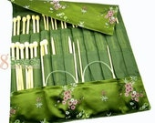 FREE SHIPPING Gorgeous Knitting needle Roll CASE-- Green plum blossom