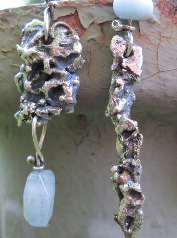 Urban Primitive Organic Rustic Sterling and Aquamarine  Asymmetric Earrings free shipping