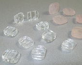 Rose Quarts and Clear Crystal Faceted Gemstone Bead Mix - Double Holes
