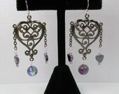 Filigree Gunmetal Heart Earrings with Hematite and Purple Crystals