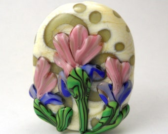 Floral Lampwork Pendant Focal Bead - GlassElephant