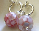Pink Mother of Pearl and Sterling Silver Earrings Hoops and Post