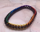 Rainbow Thin Persian Stretchy Chainmaille Bracelet