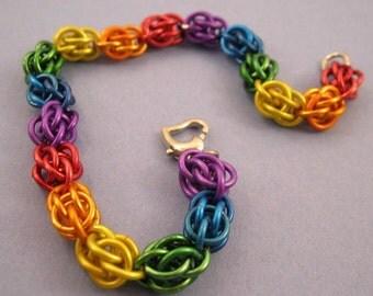 Rainbow Sweet Pea Chainmaille Bracelet