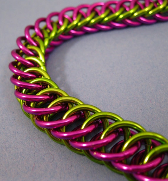 Electric Colors Lime and Violet Chainmaille Bracelet