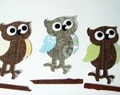 3 Owls die cut paper piecings