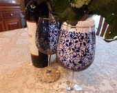 Beautiful  Blue  Mosaic Leaves, Flowers and Patterns Hand Painted Wine Glasses