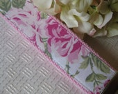 Shabby Pink Rose Fabric Chic Wristlet Key Chain Key Fob