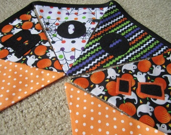 Reuseable Happy Halloween Boo Doorway, Mantle Decoration Fabric 6 Bunting Flags - 4.5 Feet - READY TO GO