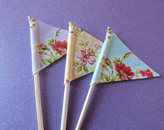 Cupcake Flags - 12 Fabric Summer Picnic Floral Cake Toppers