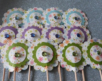 Cute Flower Cupcake Toppers - 12 Paper Glittery Flowers - Cake or Cupcake Toppers, use for Birthday, Shower, Celebration or a party