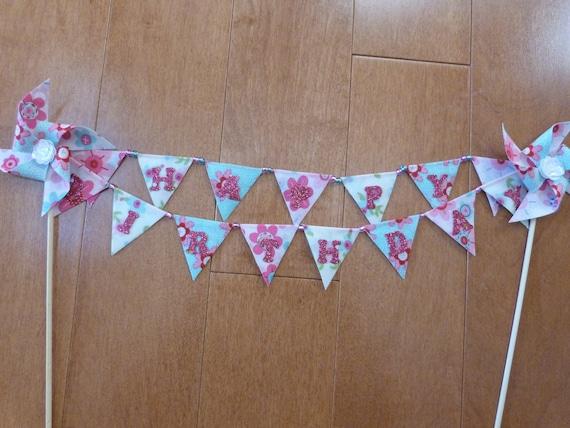 Fancy Glitter Girl Cake Topper HAPPY BIRTHDAY Flags Banner