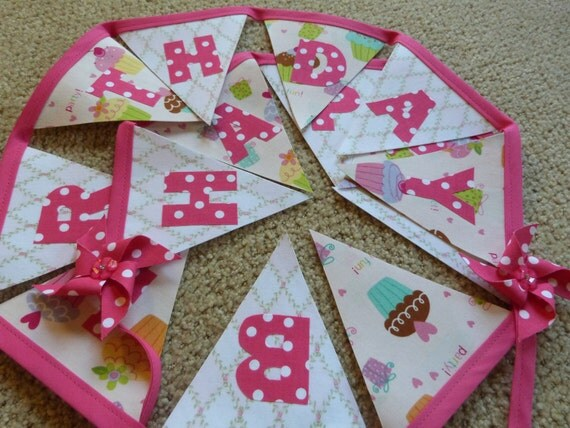 Pink Polka Dot HAPPY BIRTHDAY Cupcake  Fabric Bunting Banner -  8 Ft