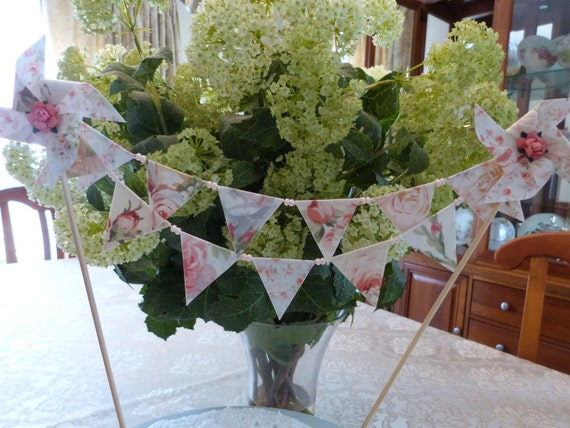 Mini Cake Topper Bunting - Beautiful Pearl Peach Shabby But Chic Floral  - Shower, Wedding, Birthday  Flags Banner
