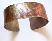 Unisex Copper Cuff Rustic Bracelet Hammered Metalwork Small Size