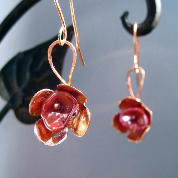 Rose Pearl Earrings with Copper Flowers One of a Kind