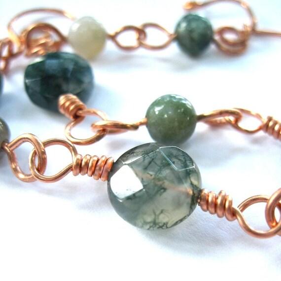 Spruce Green Moss Agate Handmade Bracelet