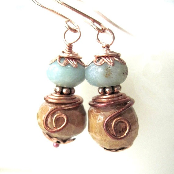 Blue Green Earrings Peruvian Opal Gemstones Carved Wooden Beads & Copper