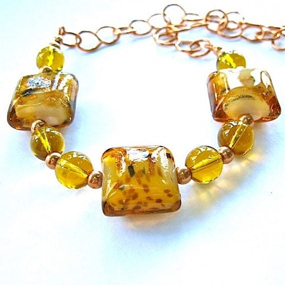 Golden Yellow Lampwork Copper Choker Necklace Topaz Glass Beads Adjustable Length