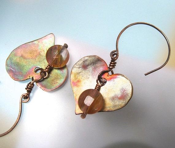 Sweet Hearts Earrings Antiqued Copper & Pink Cherry Quartz Gemstones Rustic Eclectic Dangles