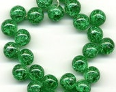 Vintage Green Crackle Beads or Buttons 9mm Glass