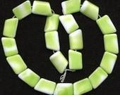 Vintage 17mm Chartreuse & White Beads Geometric Shaped Glass Western Germany 20 Pcs.