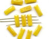 Vintage Yellow Nailhead Beads 20mm Butterscotch Agate Glass 3 Hole Rectangles