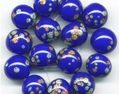 Vintage Blue Millefiori Beads 12mm Japanese 16 Pcs.