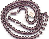 Vintage Purple Beads 6mm Translucent Glass Rounds - 100 Pcs - Made in Japan