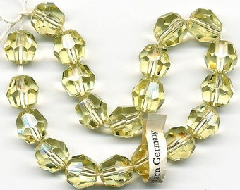 Vintage Yellow Beads 12mm Jonquil Color Glass Faceted Rounds 20 Pcs.