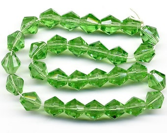 Vintage Green Beads 8mm Translucent Faceted Bicones - Western Germany