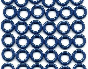 Vintage Plastic Ring Beads 14mm Dark Blue  - No Openings