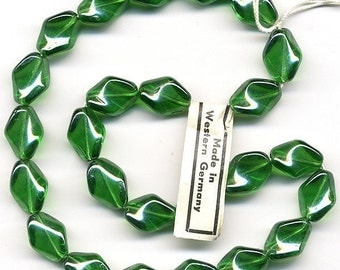 Vintage Green Beads 15mm Emerald Twist with Luster Finish 24 Pcs. Made in W. Germany