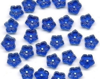Vintage Flower Beads 8mm Dk Sapphire Blue Glass Flat Back Center Hole