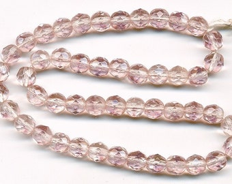 Vintage Pale Pink Beads 6mm Faceted Rounds - W. Germany