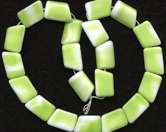 Vintage 17mm Chartreuse & White Beads Geometric Shaped Glass Western Germany 20 Pcs.