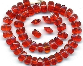 Vintage Ruby Red Beads 5mm Flat Diamond Shaped Glass 1920s Czech