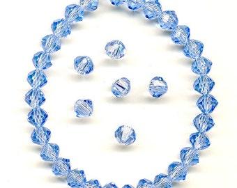 Vintage 4mm Blue Crystal Beads Swarovski 5309 Lt Sapphire 36 Pcs