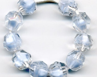 Vintage Ice Blue Givre Beads 10mm Faceted Glass