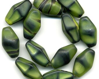 Vintage Green & Black Beads 22mm Camouflage Pattern Matte Glass Bicones