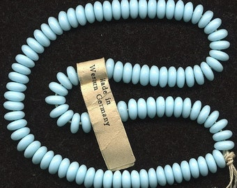 Vintage Aqua Rondelle Beads 6mm Pale Blue Glass Made in W. Germany 100 Pcs.