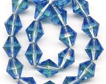 Vintage Blue & Green Beads 10mm Bicolor Glass  20 Pcs. Made W. Germany