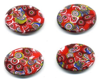 Vintage Millefiori Cabochons Red 25mm x 18mm Glass Czech 2 Pcs.