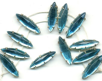 Vintage 16x6mm Blue Rose Montee Beads Aqua Glass Navettes
