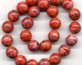 Vintage Coral Glass Beads 8mm Round w/ Matrix 25 Pcs.